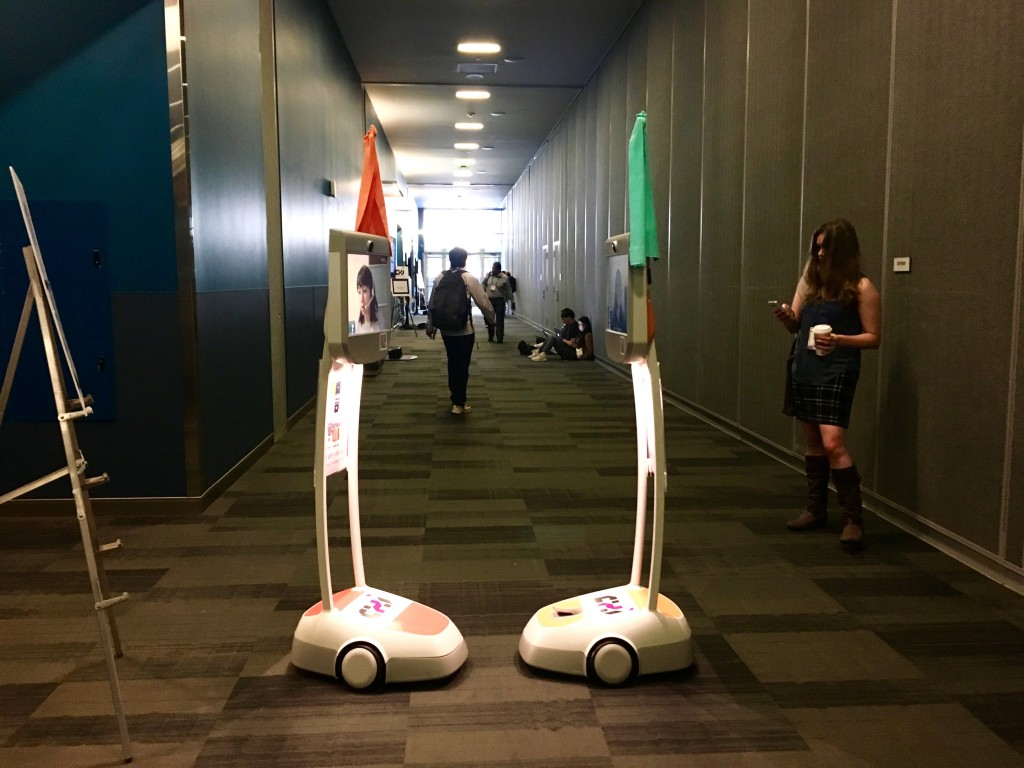 Ten teleconference robots facilitated remote attendance to CHI 2016 conference.