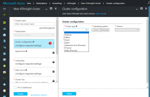 Custer config Azure