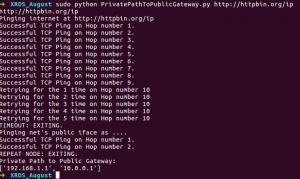 console output for traceroute python script