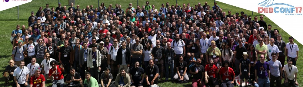 Group photo for the 2017 Debian Conference, held at Montreal, Canada, August 6-13