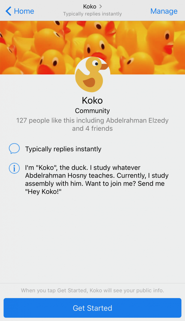 Start screen of Koko - the chatbot on Messenger.