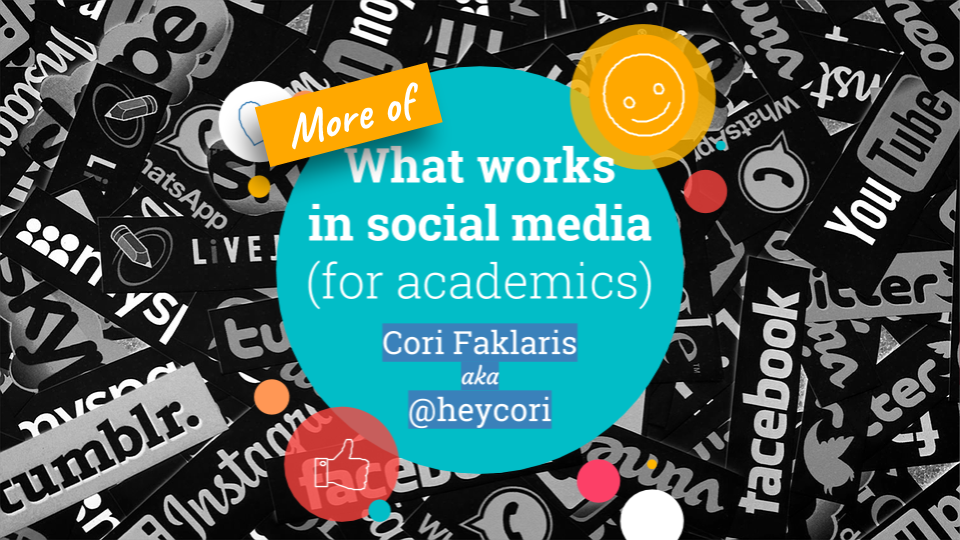 Featured image for blog post by Cori Faklaris: More of What Works in Social Media (For Academics)